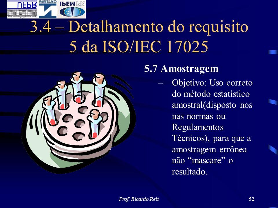 Prof. Ricardo Reis52 3.4 – Detalhamento do requisito 5 da ISO/IEC 17025 5.7 Amostragem –Objetivo: Uso correto do método estatístico amostral(disposto