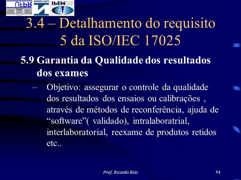 Prof. Ricardo Reis54 3.4 – Detalhamento do requisito 5 da ISO/IEC 17025 5.9 Garantia da Qualidade dos resultados dos exames –Objetivo: assegurar o con
