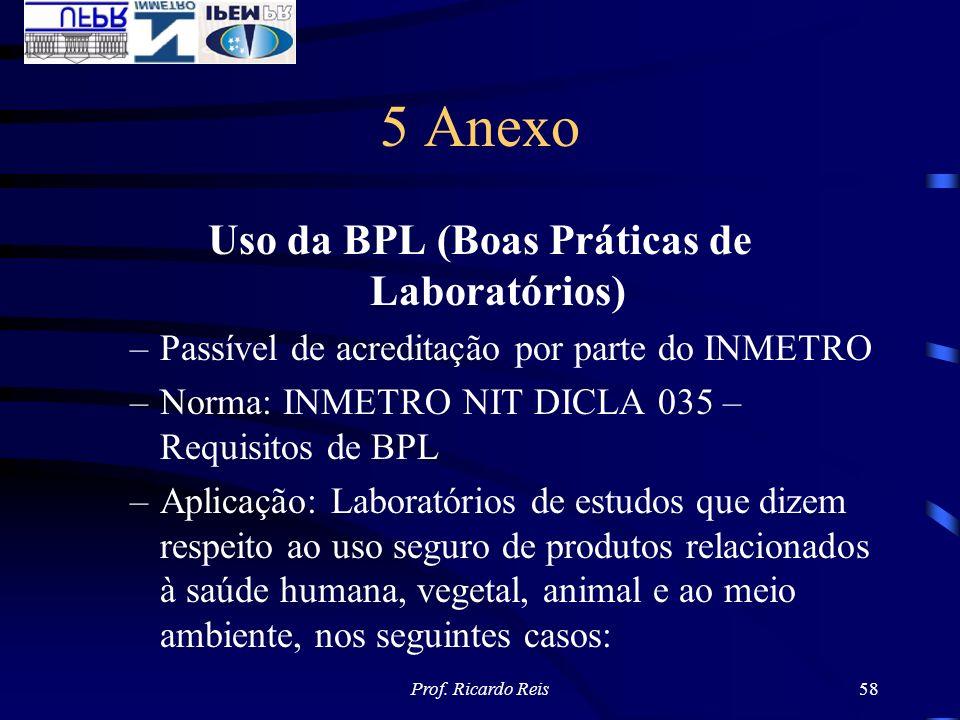 Prof. Ricardo Reis58 5 Anexo Uso da BPL (Boas Práticas de Laboratórios) –Passível de acreditação por parte do INMETRO –Norma: INMETRO NIT DICLA 035 –