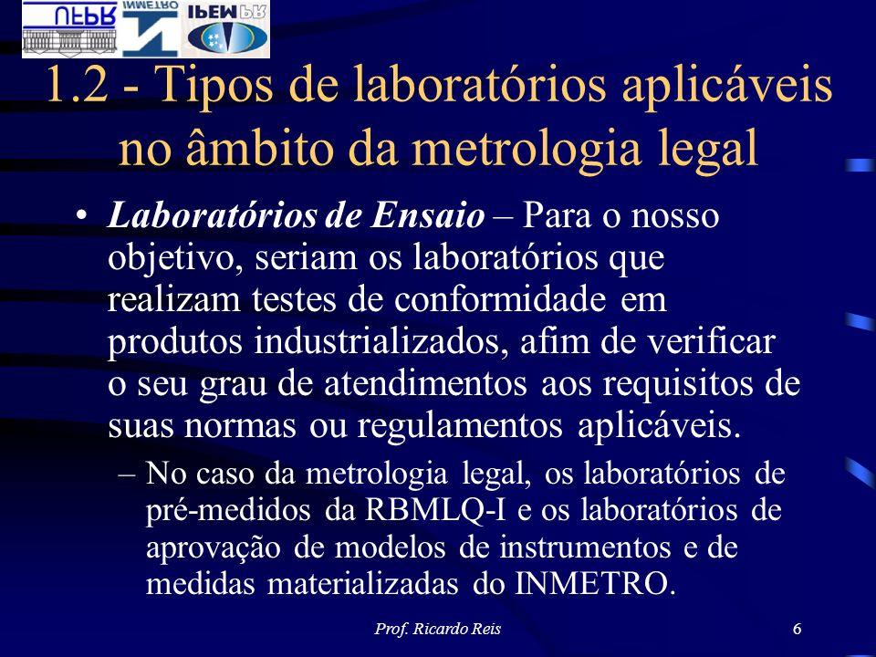 Prof. Ricardo Reis6 1.2 - Tipos de laboratórios aplicáveis no âmbito da metrologia legal Laboratórios de Ensaio – Para o nosso objetivo, seriam os lab