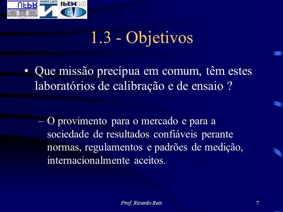 Prof. Ricardo Reis7 1.3 - Objetivos Que missão precípua em comum, têm estes laboratórios de calibração e de ensaio ? –O provimento para o mercado e pa