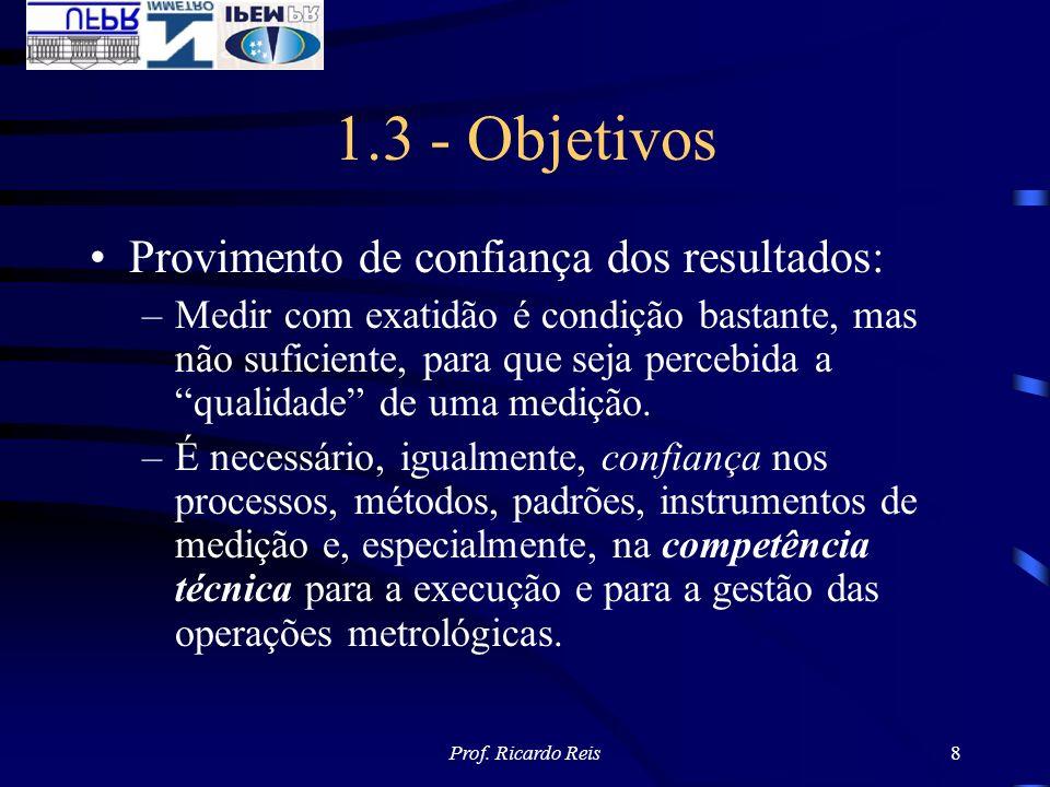 Prof. Ricardo Reis8 1.3 - Objetivos Provimento de confiança dos resultados: –Medir com exatidão é condição bastante, mas não suficiente, para que seja