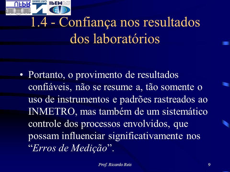 Prof. Ricardo Reis9 1.4 - Confiança nos resultados dos laboratórios Portanto, o provimento de resultados confiáveis, não se resume a, tão somente o us