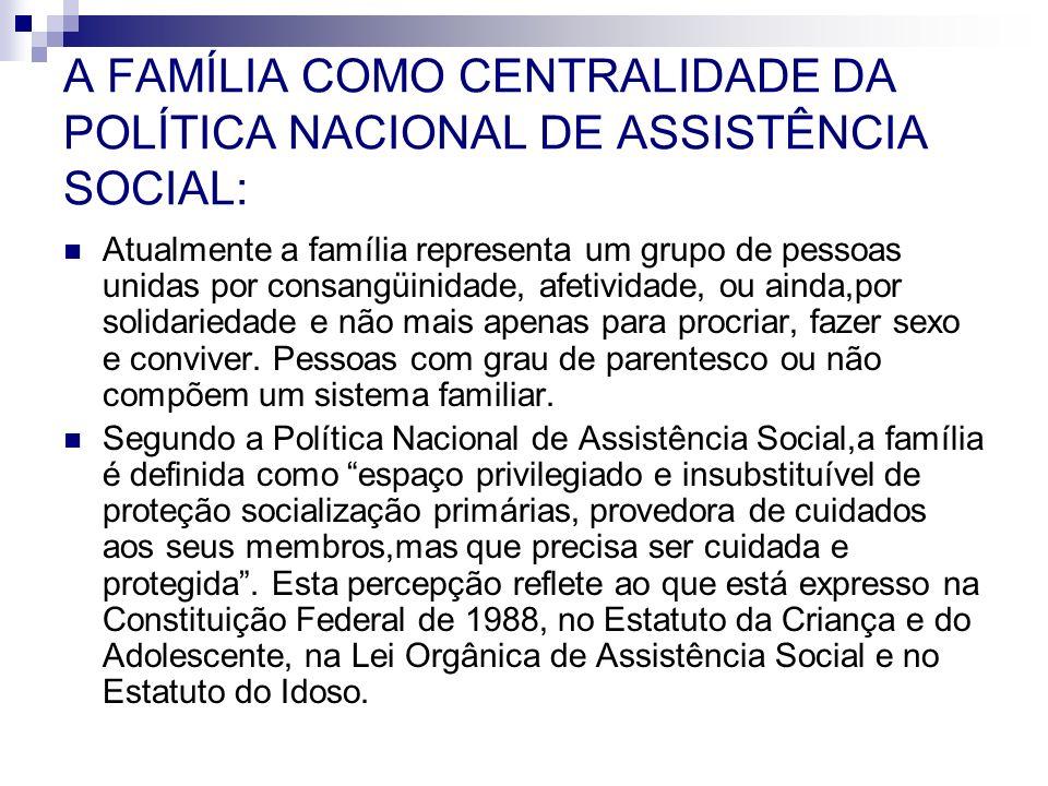A FAMÍLIA COMO CENTRALIDADE DA POLÍTICA NACIONAL DE ASSISTÊNCIA SOCIAL: Atualmente a família representa um grupo de pessoas unidas por consangüinidade
