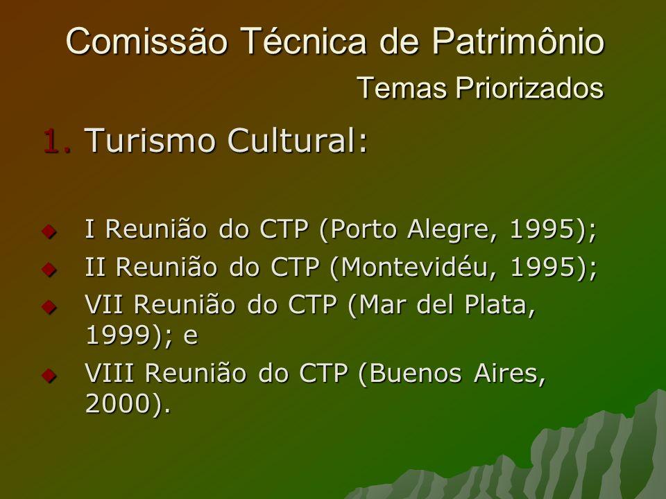 Comissão Técnica de Patrimônio Temas Priorizados 1.Turismo Cultural: I Reunião do CTP (Porto Alegre, 1995); I Reunião do CTP (Porto Alegre, 1995); II Reunião do CTP (Montevidéu, 1995); II Reunião do CTP (Montevidéu, 1995); VII Reunião do CTP (Mar del Plata, 1999); e VII Reunião do CTP (Mar del Plata, 1999); e VIII Reunião do CTP (Buenos Aires, 2000).