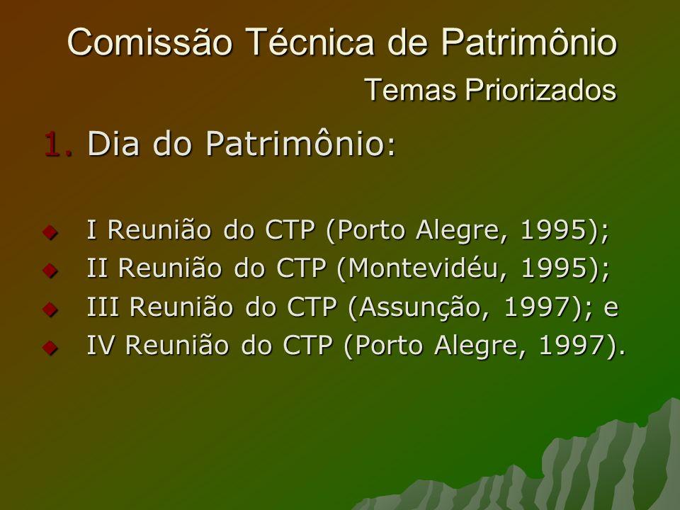 Comissão Técnica de Patrimônio Temas Priorizados 1.Dia do Patrimônio : I Reunião do CTP (Porto Alegre, 1995); I Reunião do CTP (Porto Alegre, 1995); II Reunião do CTP (Montevidéu, 1995); II Reunião do CTP (Montevidéu, 1995); III Reunião do CTP (Assunção, 1997); e III Reunião do CTP (Assunção, 1997); e IV Reunião do CTP (Porto Alegre, 1997).