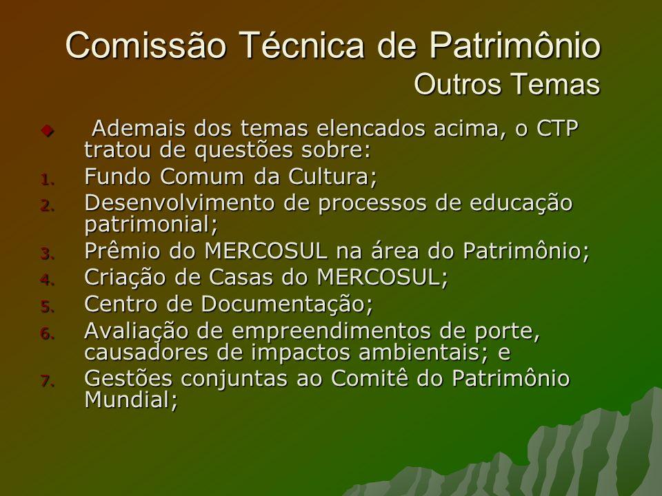 Comissão Técnica de Patrimônio Outros Temas Ademais dos temas elencados acima, o CTP tratou de questões sobre: Ademais dos temas elencados acima, o CT