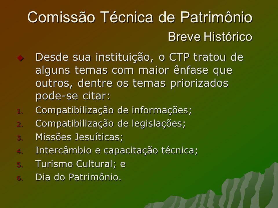 Comissão Técnica de Patrimônio Breve Histórico Desde sua instituição, o CTP tratou de alguns temas com maior ênfase que outros, dentre os temas priori