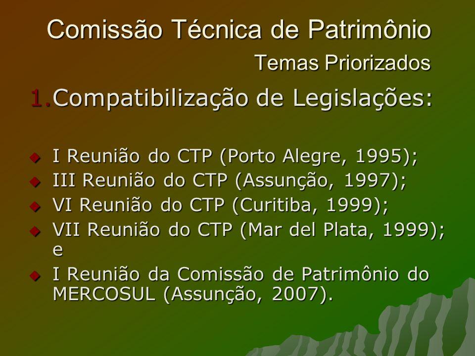 Comissão Técnica de Patrimônio Temas Priorizados 1.Compatibilização de Legislações: I Reunião do CTP (Porto Alegre, 1995); I Reunião do CTP (Porto Alegre, 1995); III Reunião do CTP (Assunção, 1997); III Reunião do CTP (Assunção, 1997); VI Reunião do CTP (Curitiba, 1999); VI Reunião do CTP (Curitiba, 1999); VII Reunião do CTP (Mar del Plata, 1999); e VII Reunião do CTP (Mar del Plata, 1999); e I Reunião da Comissão de Patrimônio do MERCOSUL (Assunção, 2007).