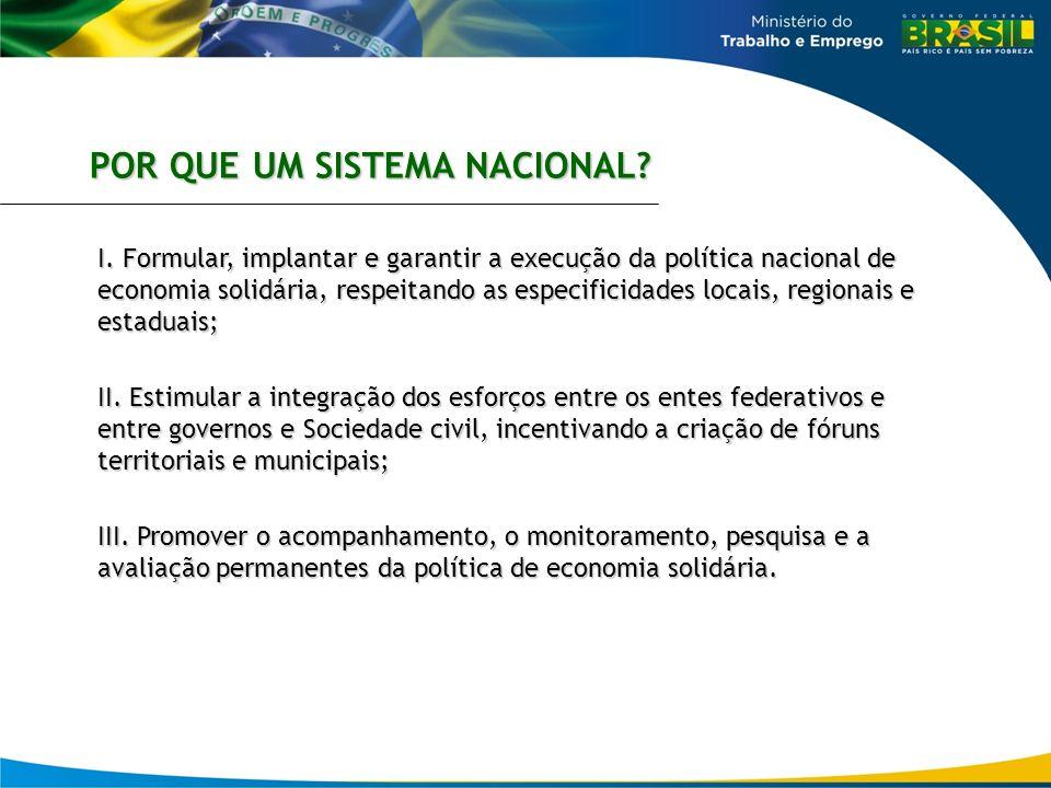 I. Formular, implantar e garantir a execução da política nacional de economia solidária, respeitando as especificidades locais, regionais e estaduais;