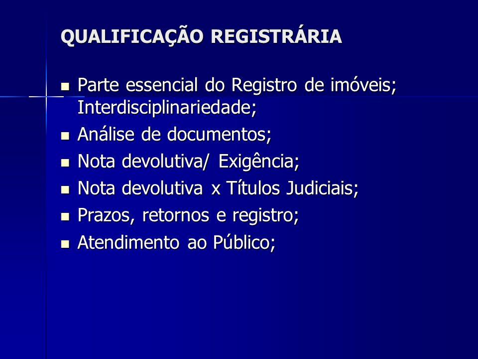 QUALIFICAÇÃO REGISTRÁRIA Parte essencial do Registro de imóveis; Interdisciplinariedade; Parte essencial do Registro de imóveis; Interdisciplinariedad