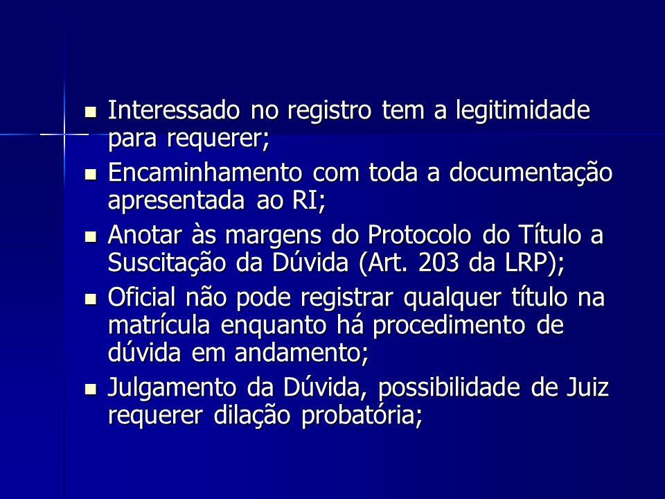 Interessado no registro tem a legitimidade para requerer; Interessado no registro tem a legitimidade para requerer; Encaminhamento com toda a document