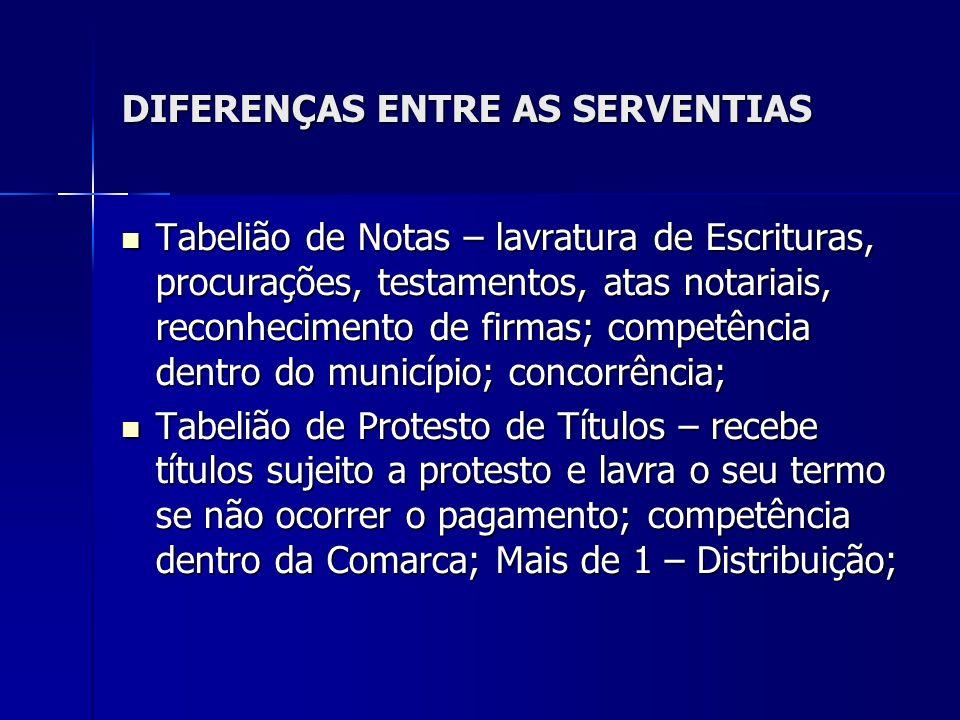 DIFERENÇAS ENTRE AS SERVENTIAS Tabelião de Notas – lavratura de Escrituras, procurações, testamentos, atas notariais, reconhecimento de firmas; compet