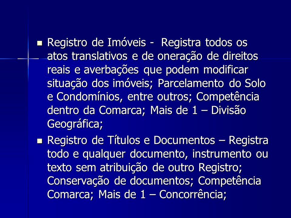 Registro de Imóveis - Registra todos os atos translativos e de oneração de direitos reais e averbações que podem modificar situação dos imóveis; Parce