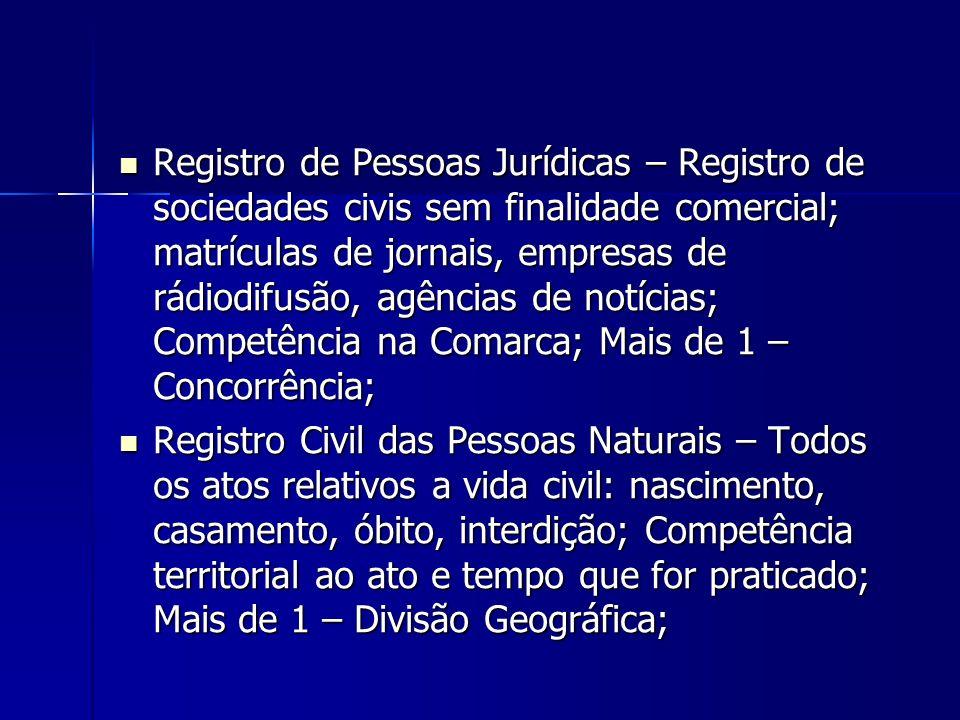 Registro de Pessoas Jurídicas – Registro de sociedades civis sem finalidade comercial; matrículas de jornais, empresas de rádiodifusão, agências de no