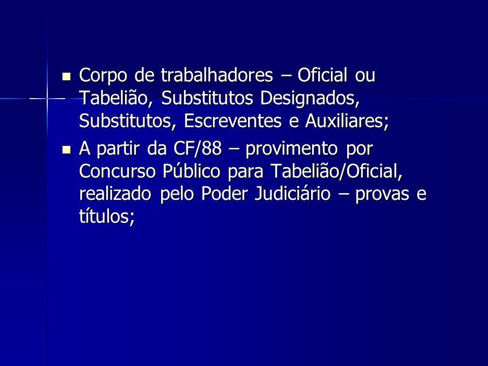 Corpo de trabalhadores – Oficial ou Tabelião, Substitutos Designados, Substitutos, Escreventes e Auxiliares; Corpo de trabalhadores – Oficial ou Tabel