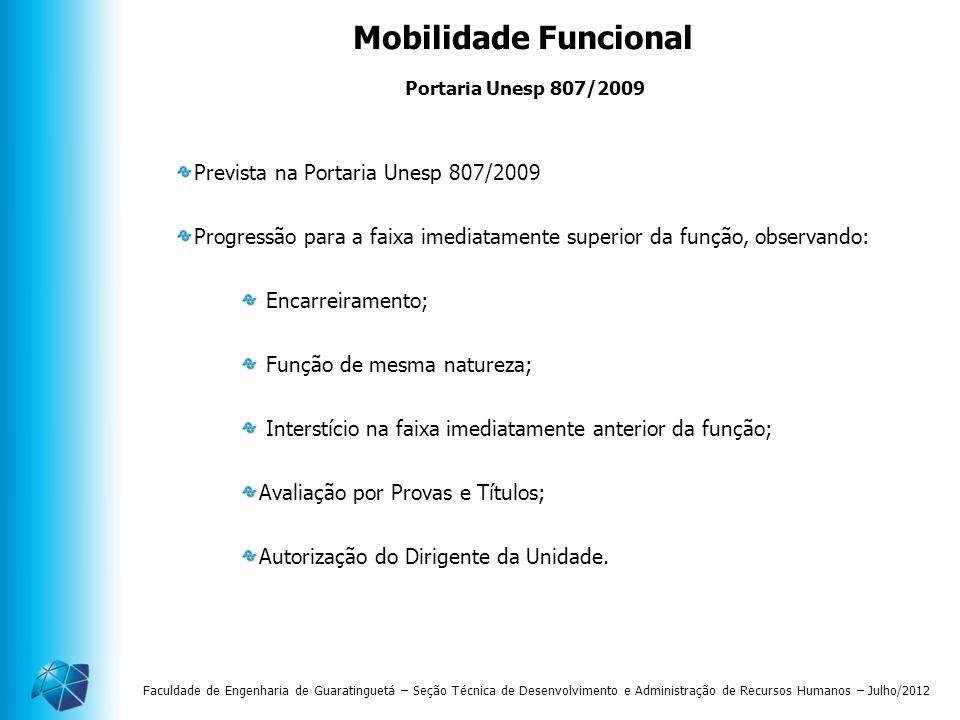Faculdade de Engenharia de Guaratinguetá – Seção Técnica de Desenvolvimento e Administração de Recursos Humanos – Julho/2012 Mobilidade Funcional Prev