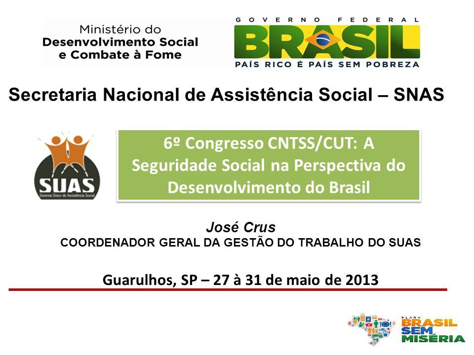 José Crus COORDENADOR GERAL DA GESTÃO DO TRABALHO DO SUAS Guarulhos, SP – 27 à 31 de maio de 2013 Secretaria Nacional de Assistência Social – SNAS 6º