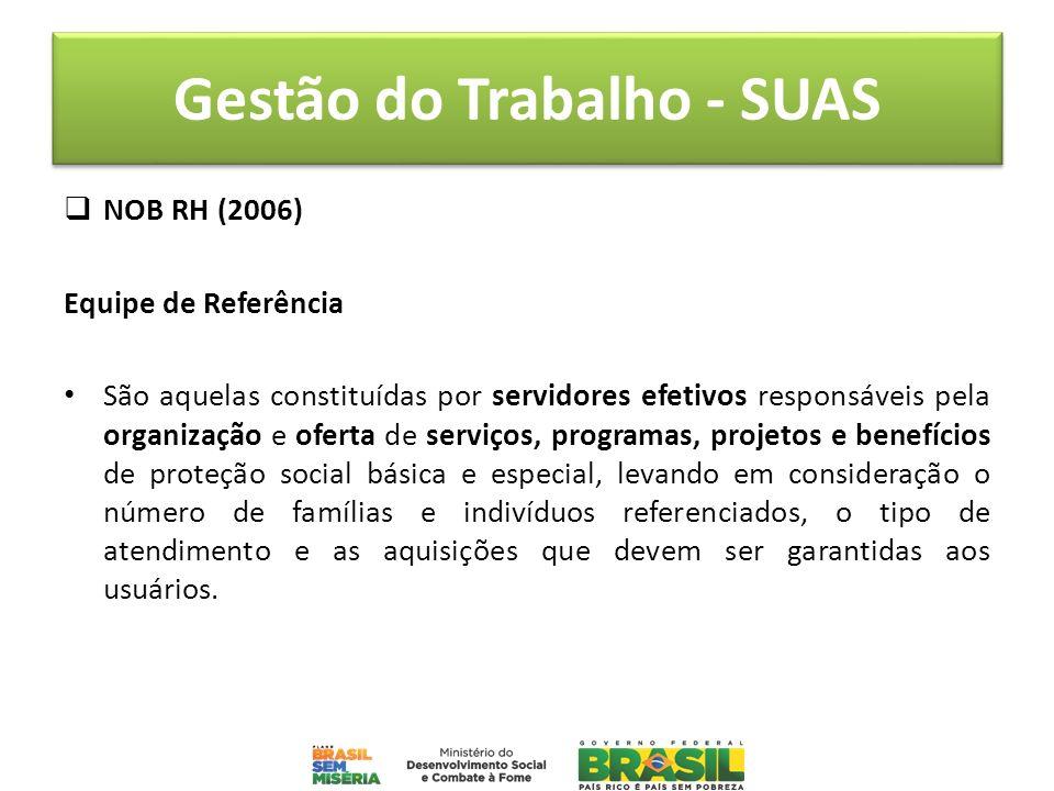 Gestão do Trabalho - SUAS NOB RH (2006) Equipe de Referência São aquelas constituídas por servidores efetivos responsáveis pela organização e oferta d