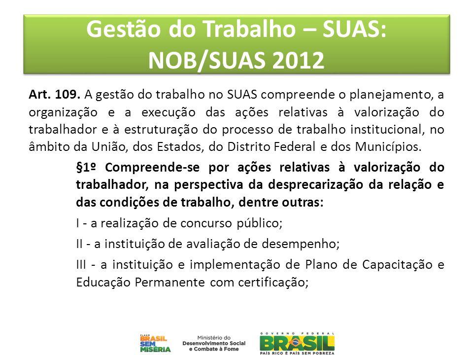 Gestão do Trabalho – SUAS: NOB/SUAS 2012 Art. 109. A gestão do trabalho no SUAS compreende o planejamento, a organização e a execução das ações relati
