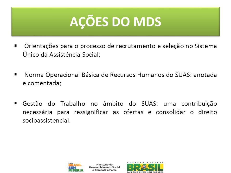 AÇÕES DO MDS Orientações para o processo de recrutamento e seleção no Sistema Único da Assistência Social; Norma Operacional Básica de Recursos Humano