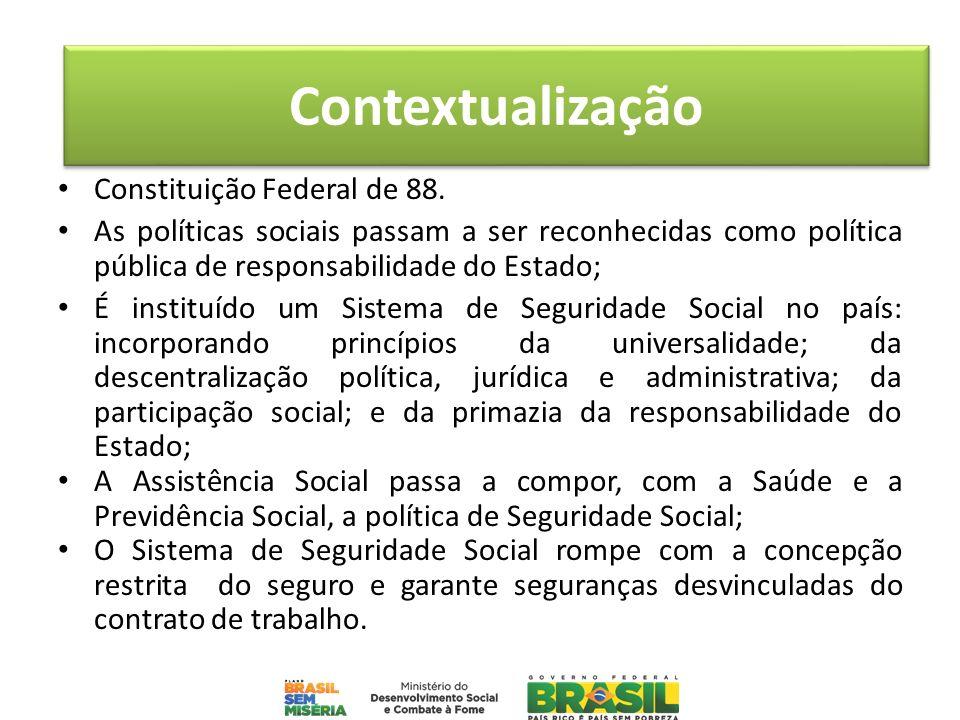 Constituição Federal de 88. As políticas sociais passam a ser reconhecidas como política pública de responsabilidade do Estado; É instituído um Sistem