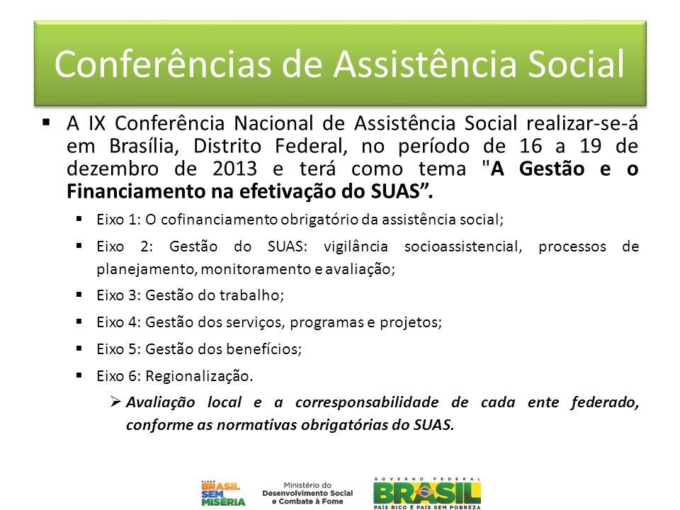 Conferências de Assistência Social A IX Conferência Nacional de Assistência Social realizar-se-á em Brasília, Distrito Federal, no período de 16 a 19