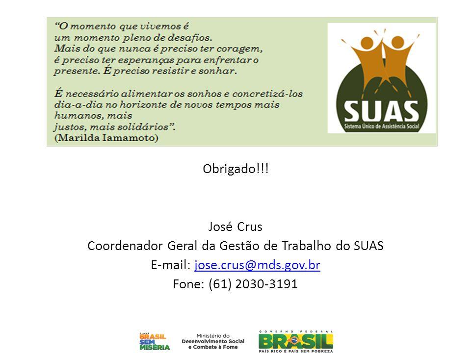 Obrigado!!! José Crus Coordenador Geral da Gestão de Trabalho do SUAS E-mail: jose.crus@mds.gov.brjose.crus@mds.gov.br Fone: (61) 2030-3191