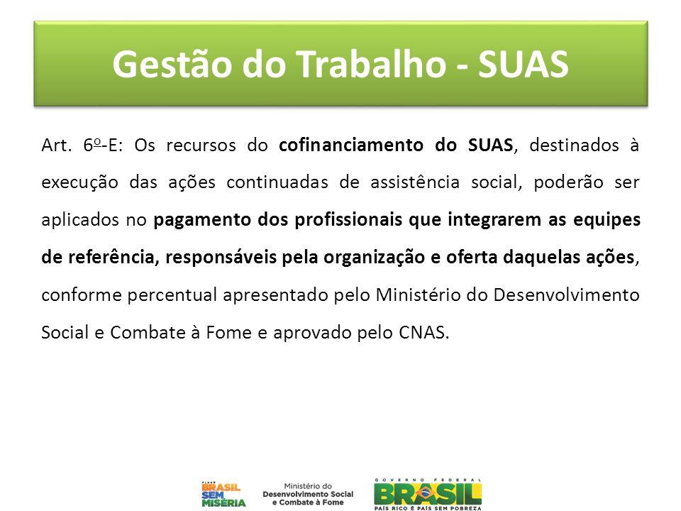 Gestão do Trabalho - SUAS Art. 6 o -E: Os recursos do cofinanciamento do SUAS, destinados à execução das ações continuadas de assistência social, pode