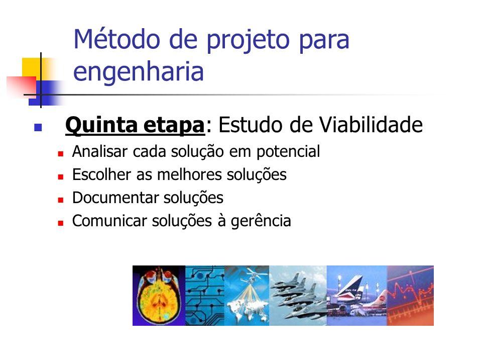 Quinta etapa: Estudo de Viabilidade Analisar cada solução em potencial Escolher as melhores soluções Documentar soluções Comunicar soluções à gerência
