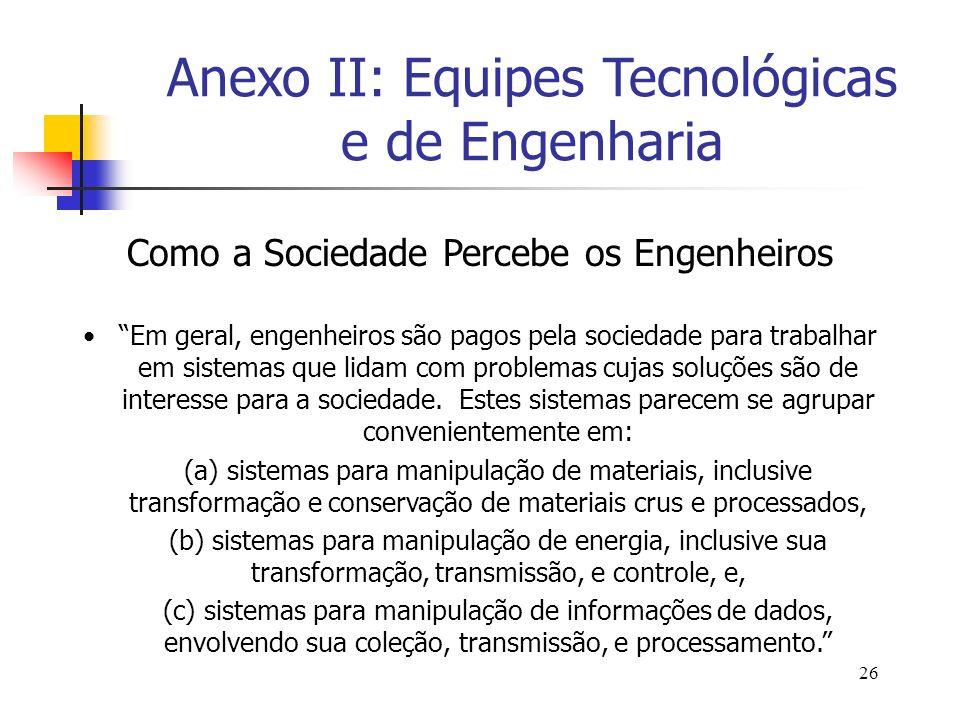 26 Como a Sociedade Percebe os Engenheiros Em geral, engenheiros são pagos pela sociedade para trabalhar em sistemas que lidam com problemas cujas sol