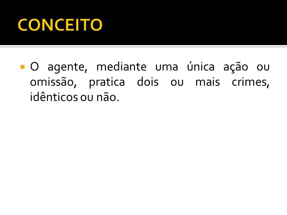 O agente, mediante uma única ação ou omissão, pratica dois ou mais crimes, idênticos ou não.