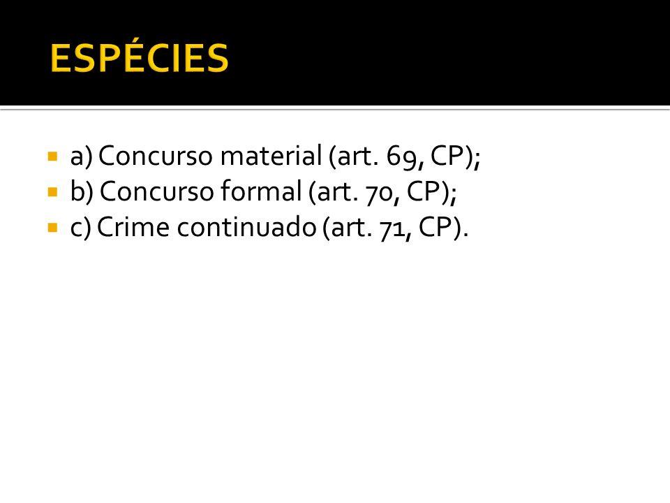 a) Concurso material (art. 69, CP); b) Concurso formal (art. 70, CP); c) Crime continuado (art. 71, CP).