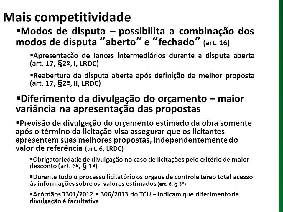 Mais competitividade Modos de disputa – possibilita a combinação dos modos de disputa aberto e fechado (art. 16) Apresentação de lances intermediários