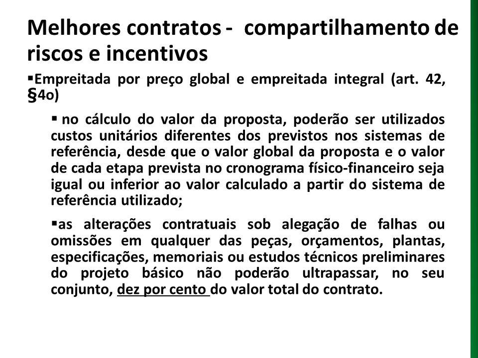 Melhores contratos - compartilhamento de riscos e incentivos Empreitada por preço global e empreitada integral (art. 42, §4o) no cálculo do valor da p