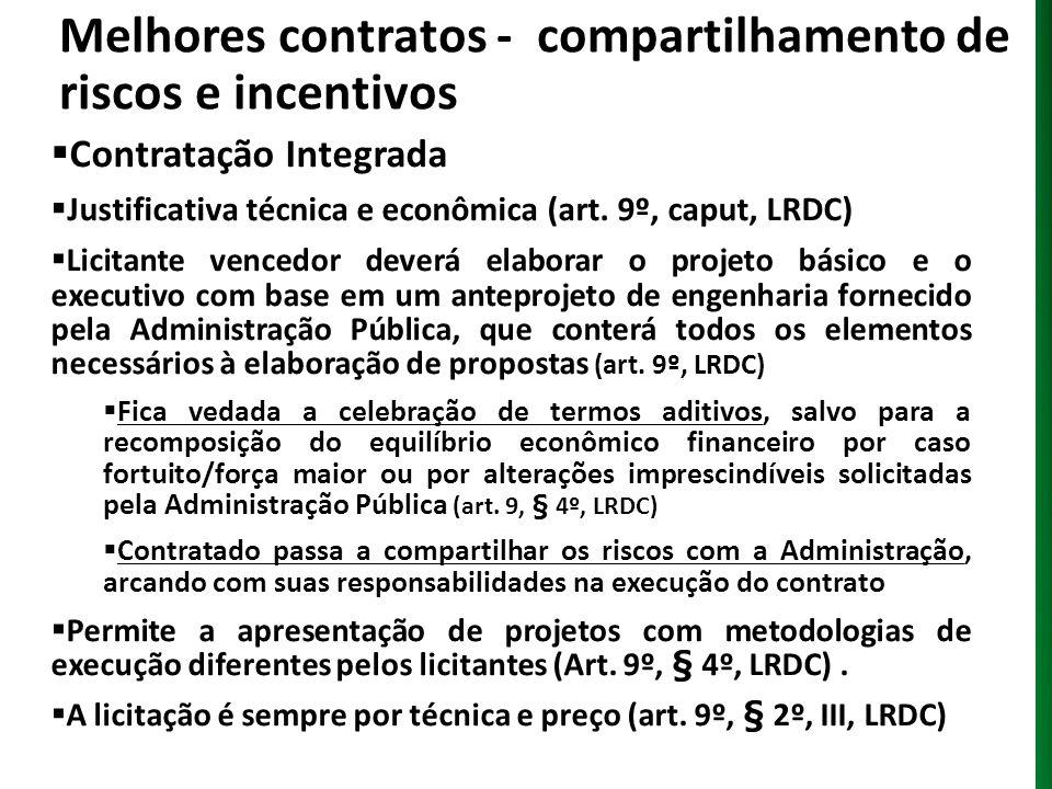 Melhores contratos - compartilhamento de riscos e incentivos Contratação Integrada Justificativa técnica e econômica (art. 9º, caput, LRDC) Licitante