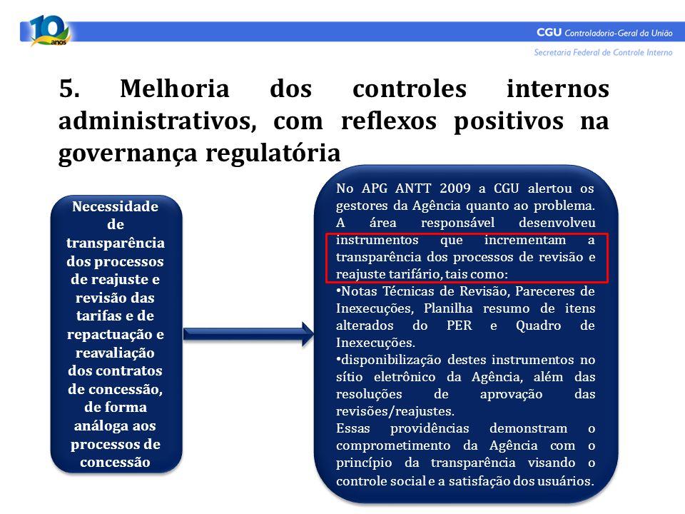 5. Melhoria dos controles internos administrativos, com reflexos positivos na governança regulatória Necessidade de transparência dos processos de rea