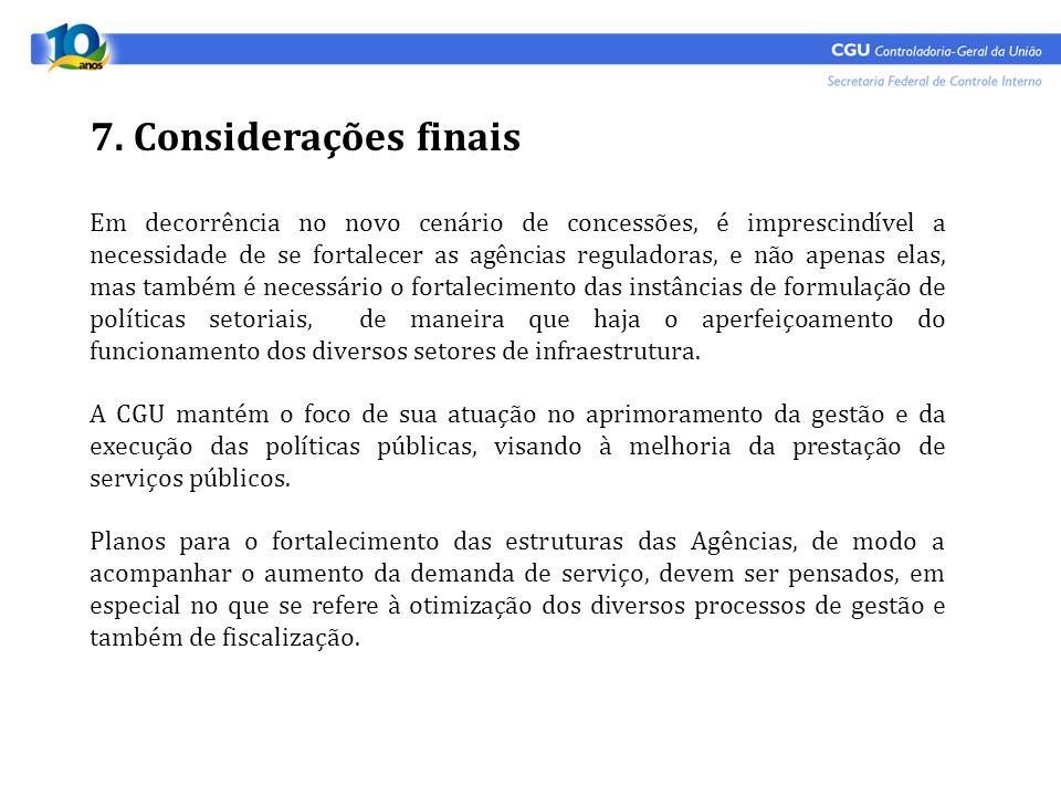 7. Considerações finais Em decorrência no novo cenário de concessões, é imprescindível a necessidade de se fortalecer as agências reguladoras, e não a