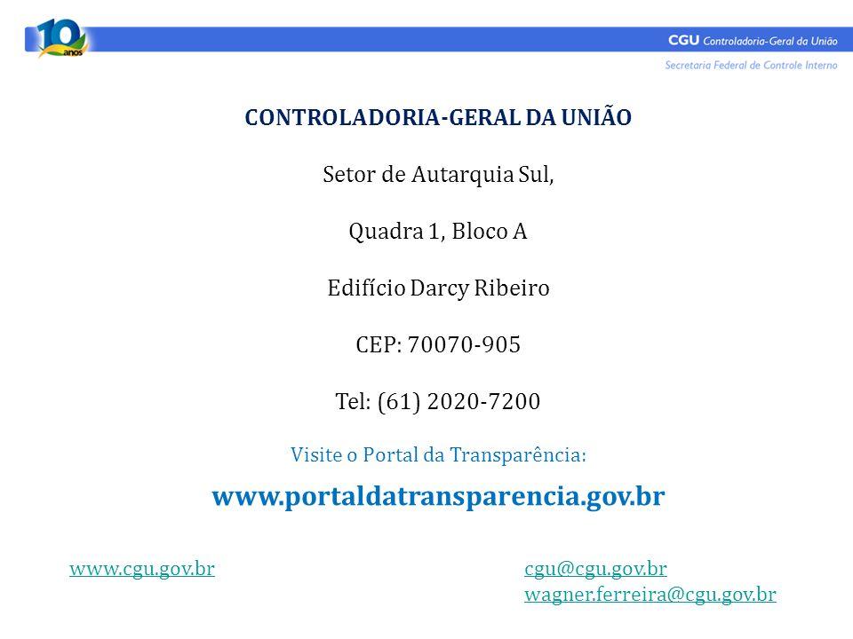CONTROLADORIA-GERAL DA UNIÃO Setor de Autarquia Sul, Quadra 1, Bloco A Edifício Darcy Ribeiro CEP: 70070-905 Tel: (61) 2020-7200 Visite o Portal da Tr