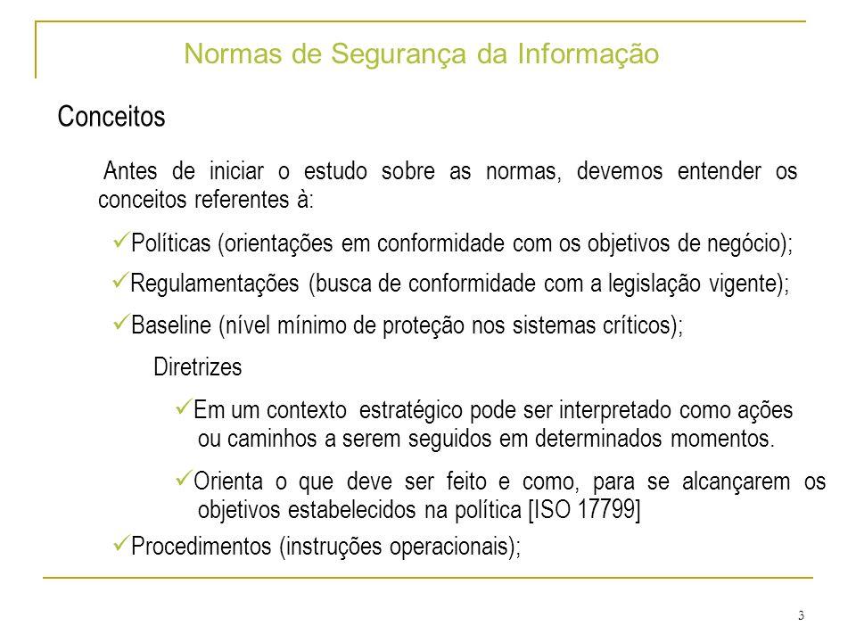 14 Normas de Segurança da Informação ISO 17799 – Segurança de Pessoas Segurança na definição e Recursos de Trabalho: Devem ser incluídas as preocupações de segurança no momento da contratação de pessoas.