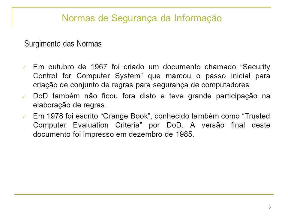 27 Normas de Segurança da Informação Visão Geral da família ISO 27000 Número: ISO IEC 27001.