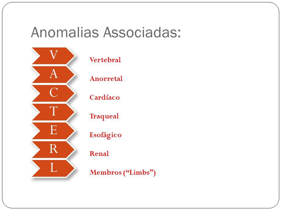 Anomalias Associadas: V A C T E R L Vertebral Anorretal Cardíaco Traqueal Esofágico Renal Membros (Limbs)