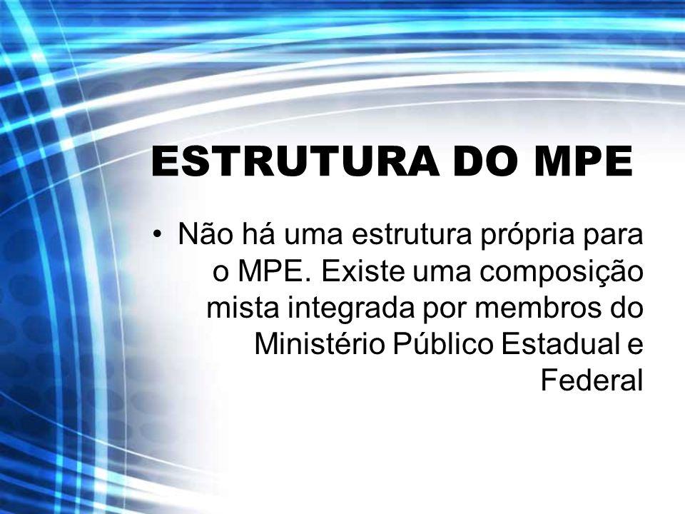 ESTRUTURA DO MPE Não há uma estrutura própria para o MPE. Existe uma composição mista integrada por membros do Ministério Público Estadual e Federal