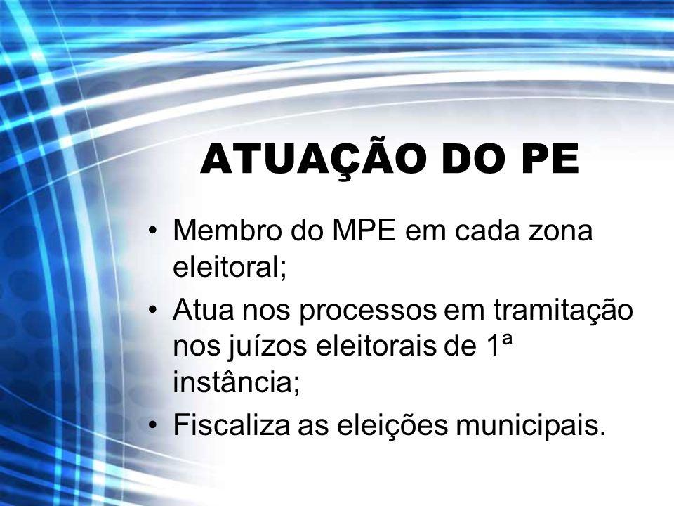 ATUAÇÃO DO PE Membro do MPE em cada zona eleitoral; Atua nos processos em tramitação nos juízos eleitorais de 1ª instância; Fiscaliza as eleições muni