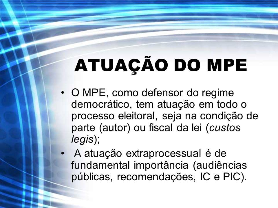 ATUAÇÃO DO MPE O MPE, como defensor do regime democrático, tem atuação em todo o processo eleitoral, seja na condição de parte (autor) ou fiscal da le