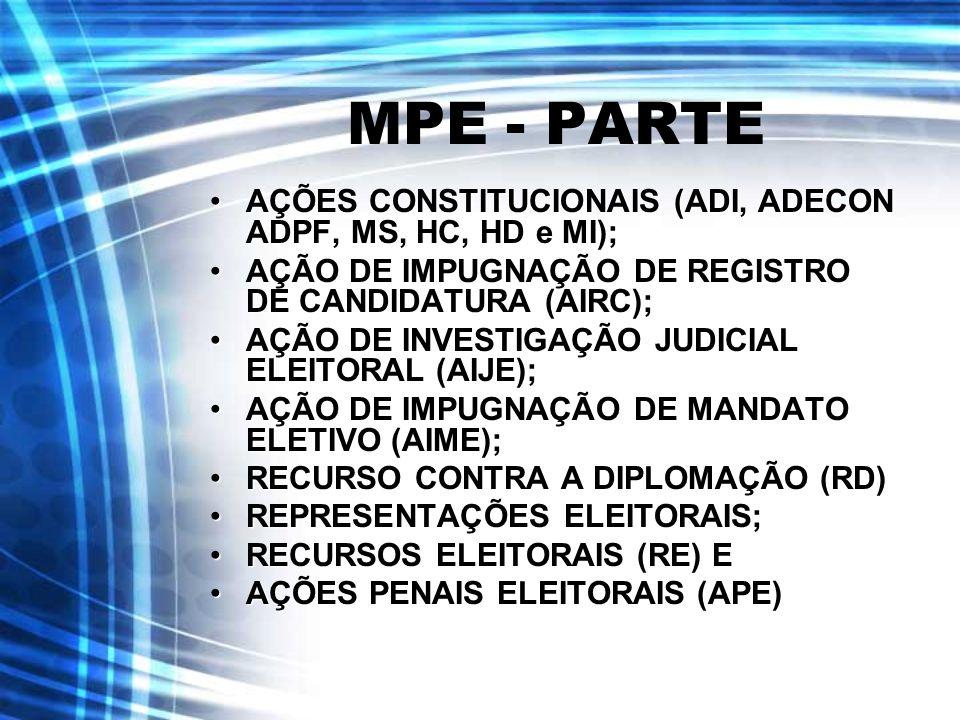 MPE - PARTE AÇÕES CONSTITUCIONAIS (ADI, ADECON ADPF, MS, HC, HD e MI);AÇÕES CONSTITUCIONAIS (ADI, ADECON ADPF, MS, HC, HD e MI); AÇÃO DE IMPUGNAÇÃO DE