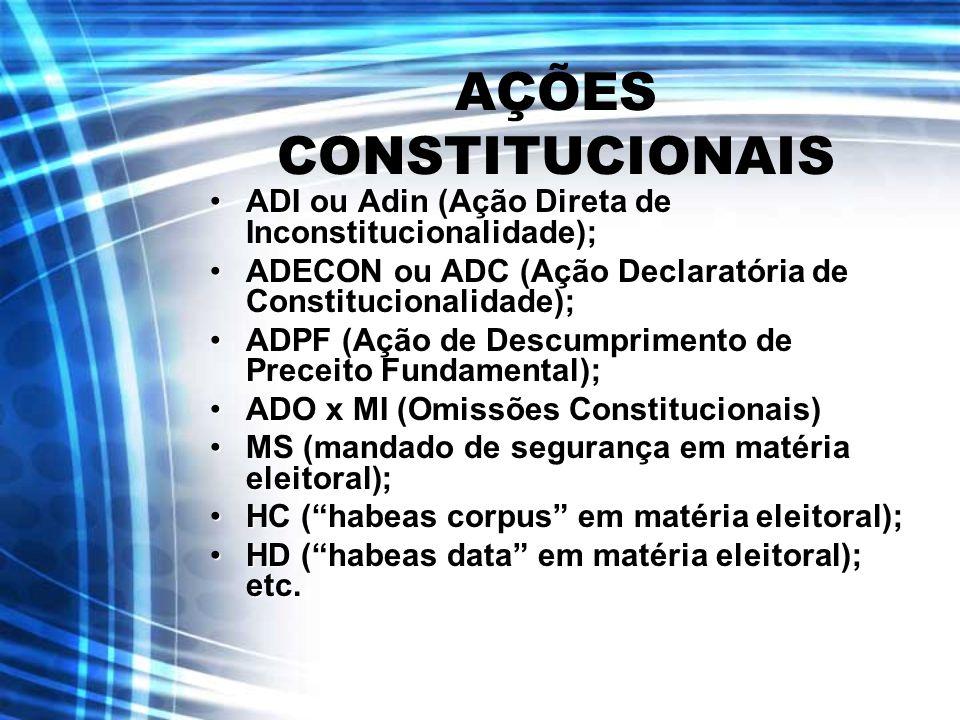 AÇÕES CONSTITUCIONAIS ADI ou Adin (Ação Direta de Inconstitucionalidade);ADI ou Adin (Ação Direta de Inconstitucionalidade); ADECON ou ADC (Ação Decla