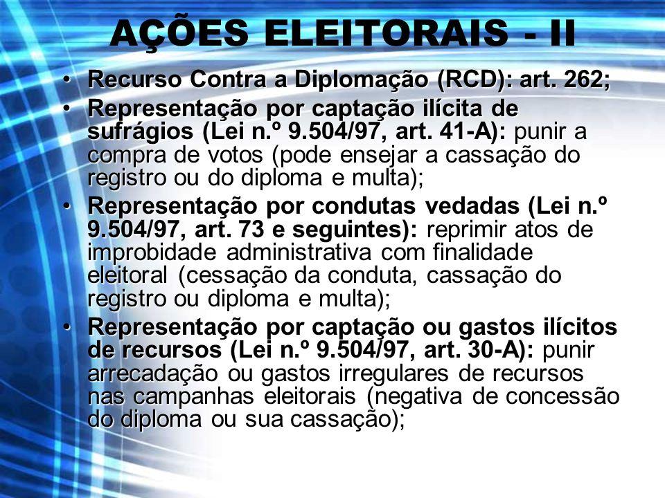 AÇÕES ELEITORAIS - II Recurso Contra a Diplomação (RCD): art. 262;Recurso Contra a Diplomação (RCD): art. 262; Representação por captação ilícita de s