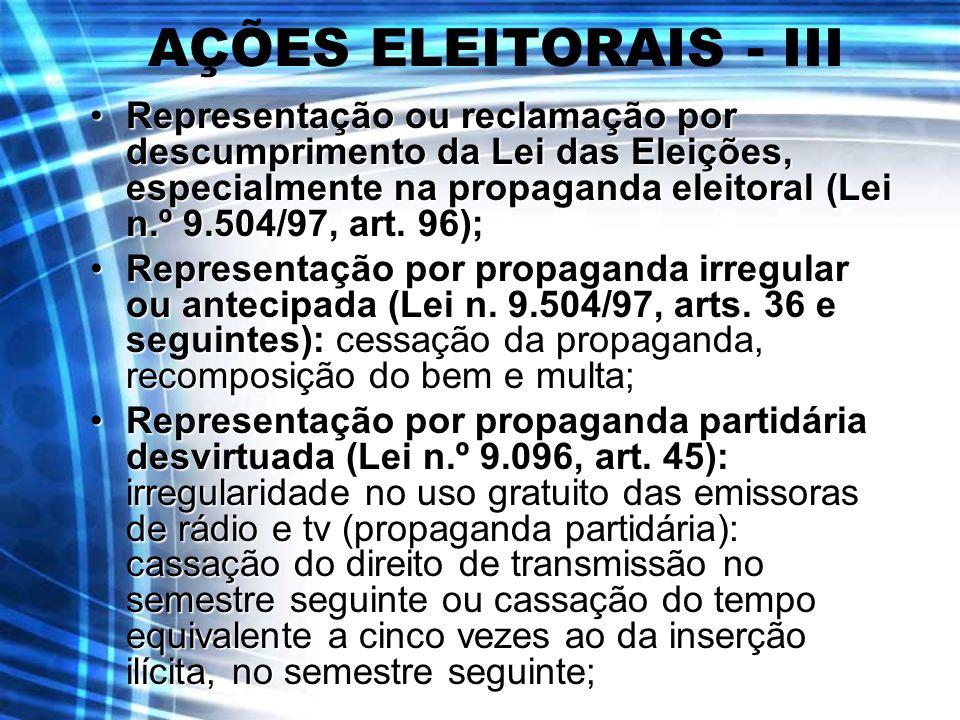 AÇÕES ELEITORAIS - III Representação ou reclamação por descumprimento da Lei das Eleições, especialmente na propaganda eleitoral (Lei n.º 9.504/97, ar