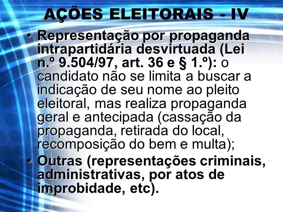 AÇÕES ELEITORAIS - IV Representação por propaganda intrapartidária desvirtuada (Lei n.º 9.504/97, art. 36 e § 1.º): o candidato não se limita a buscar